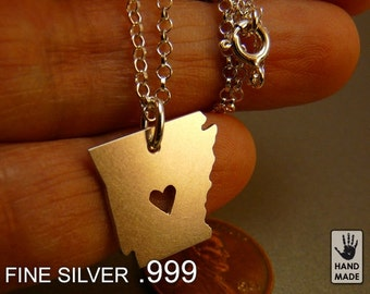 ARKANSAS State Map Handmade Personalized Fine Silver .999 Necklace in a gift box