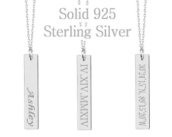 925 Sterling Silver Vertical Bar Necklace,Custom Coordinates,Custom Name,Roman Numeral,Initial,Greek Letters,Morse Code,Zodiac,Date Necklace