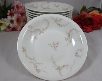 1900s Theordore Haviland Limoges France Pink Rose Fruit Soup or Cereal Bowl - 12 available