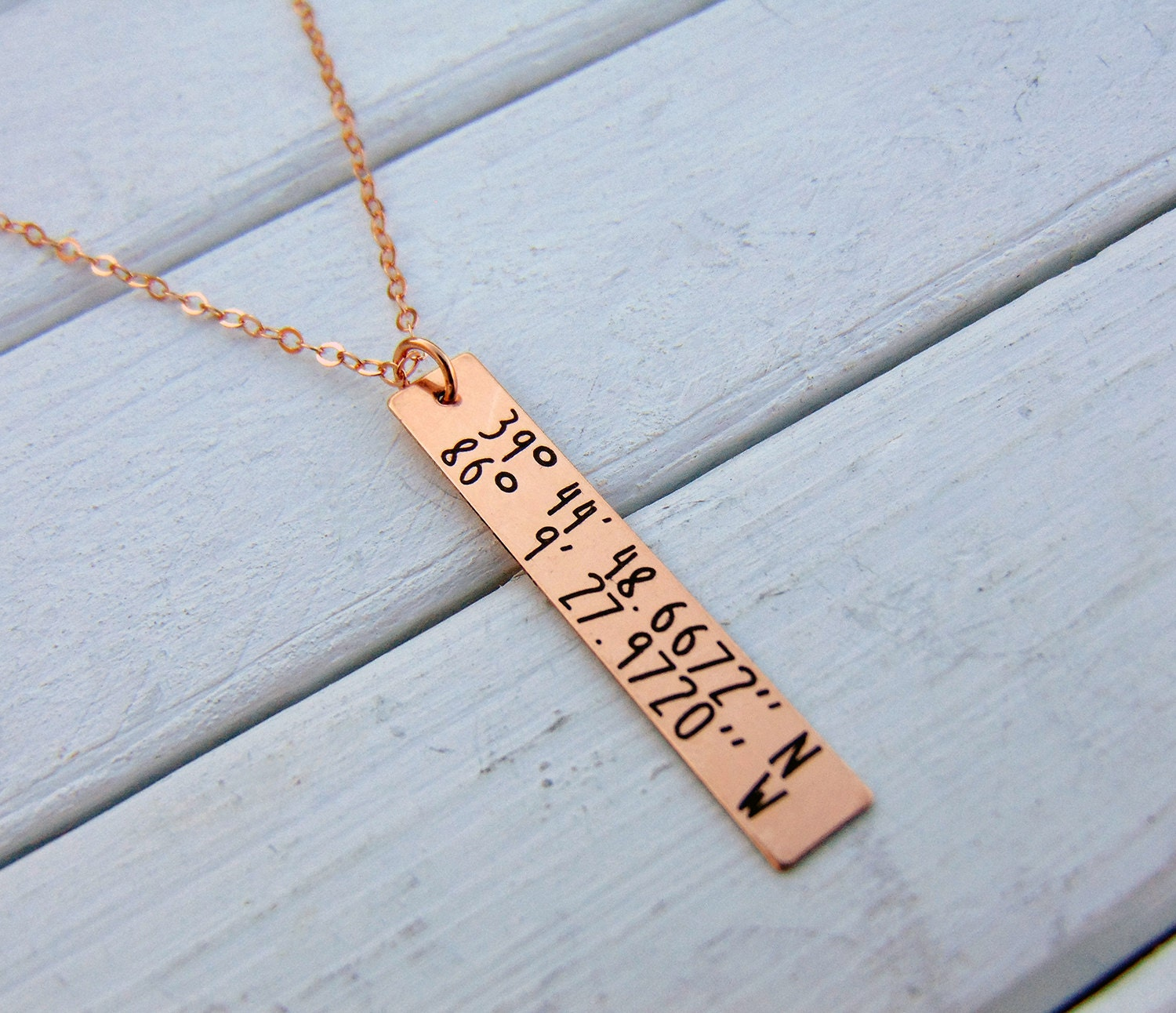 Gps Coordinates Necklace: GPS Coordinates Personalized Vertical Bar Necklace GoldRose