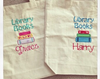 Personalized library books bag tote monogrammed embroidered