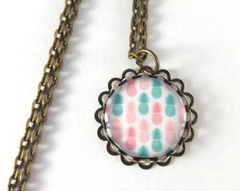 Necklace cabochon pastel pineapple retro