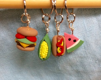 Food Stitch Markers, Gift for Her, Miniature Food, Food Stitch Markers set of 4, Summer Cookout, Knitting Tool, Crochet Tool, Accessories