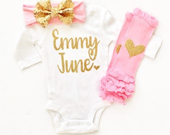 Personalized Bodysuit Baby Girl, Baby Girl Clothes, Newborn Girl Outfit, Girl Baby Shower Gift, Personalized Baby Clothes, Newborn Photo