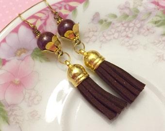 Leather Tassel Earrings, Brown Tassel Earrings, Hippie Bohemian Earrings, Ceramic Bead Jewelry, Trendy Earrings, KreatedByKelly