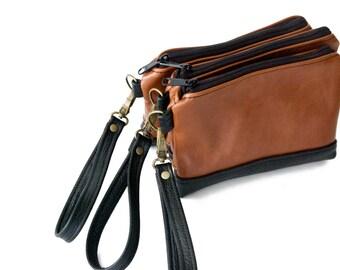 SALE - Ready to Ship, Leather Wristlet, iPhone 6 Plus Bag, Cognac Brown, Black, Leather Wallet, Zipper Pouch, Wrist Bag, Jenny N. Design