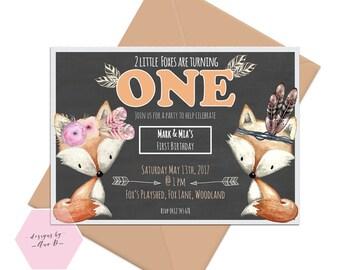 Fox Woodland Twins Birthday Invitation, First Birthday, Brother Sister Fox Tribal Boho Invitation, Girl First Birthday, Chalkboard, Woodland