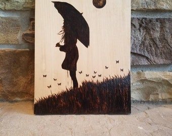 Butterfly Girl Silhouette Woodburning
