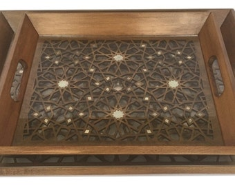 Set of 2 Wooden Trays, Wooden serving Trays, Tea trays, Two Trays inlaid with mother of pearl, Stylish trays, Luxury trays