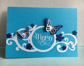 flowers and butterflies wedding thank you card