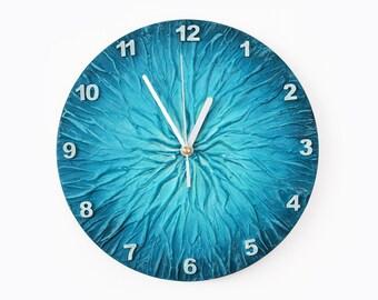 BLUE WALL CLOCK, Unique Clock, modern wall clock, blue office decor,
