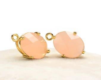 2 Oval Light Peach Crystal Glass Pendant, 16mm, Gold Plated over Brass Prong Setting. [O0160175]