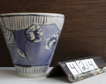 Floral Handmade Ceramic Tumbler / Blue and White Poppy Tumbler / Vintage Inspired Ceramic Cup / Thrown Pottery Tumbler / Stoneware Cup #424