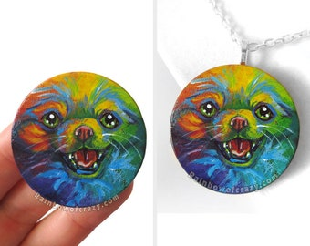Dog Necklace, Pomeranian Art, Wood Pendant, Rainbow Decor, Keepsake Gift, Dog Lover, Pet Portrait, Colorful Jewelry, Original Painting