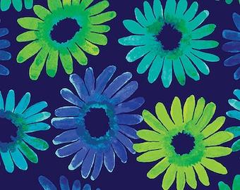 Daisy Burst Navy Blue Sunburst Kanvas Benartex Fabric