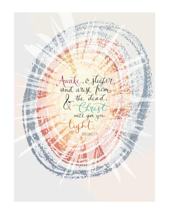 "Christian PRINTABLE * Colorful ""Arise, O Sleeper"" Inspirational Modern Calligraphy Scripture Art 8x10"