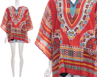 Vintage rare 60s 70s Red Dashiki Ethnic Bohemian Tunic by GYPSY ROSE One SIZE Free african tunic