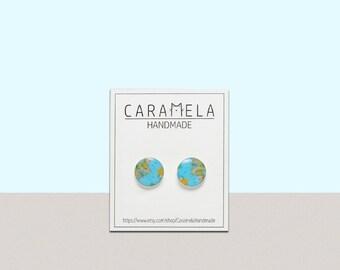 World Map Stud Earrings Earth earrings Planet stud earrings Gift for her