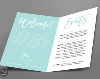 Wedding Weekend Itinerary | Wedding Welcome | 4x6 Folded Card | ANY COLOR | Digital File