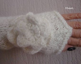 Off white knit and flower crochet, mohair, wool, soft and warm mittens