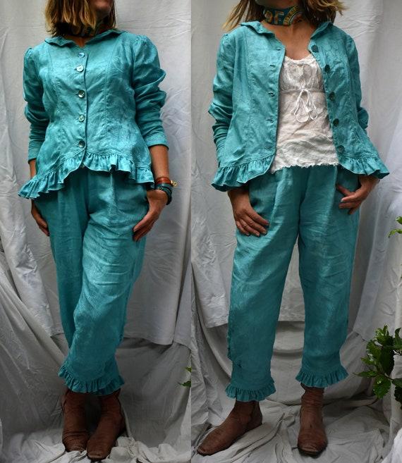 in Turquoise Irish jacket vintage linen Edwardian damask romantic lagenlook tailored jacket linen ruffled Victorian double steampunk blue qaXrxtUwa