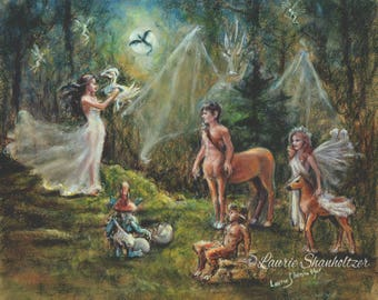"Fantasy Magic, mythology print ""Birth of a Dragon"" Centaur Nymph Fairies , Laurie Shanholtzer Canvas or art paper  of original painting"