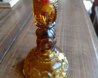 Vintage antique ~ amber glass~yellow glass~ candlestick holder