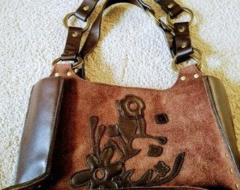 Boho Suede Leather Bag Leather Applique Brass Tacks Vintage Leather Pocketbook Leather Bag