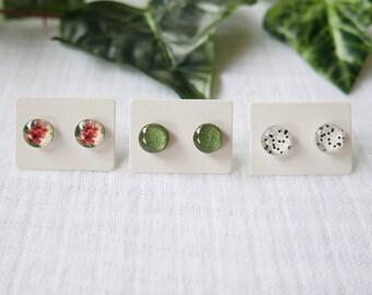 Hibiscus Flower Tropical Green Earrings 10mm Glass Stud Earrings FREE SHIPPING WORLDWIDE