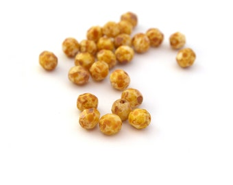 25 beads Bohemian yellow rust and white faceted 6mm