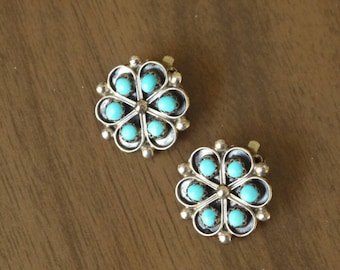 Native Turquoise 925 Clip Earrings / Sterling Silver Native American Earrings / southwest turquoise earrings