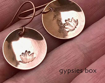 Lotus Copper Dangle Earrings / Namaste Earrings / Copper Dangle Earrings / Boho Earrings