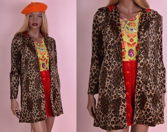 90s Fuzzy Leopard Print Hooded Coat/ Small/ 1990s/ Jacket