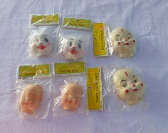 6 Plastic Doll Faces by Fibre-Craft~~Original Packaging~~Dimple Clown Faces~~Rabbit Faces~~1950's-1960's Puppet Faces~~Doll Making Supplies