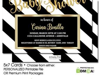 Baby Shower Invitation Gold Glitter Black White Stripes, Printable Baby Shower Invitation, Baby Shower Invitation Gender Neutral, Boy Girl