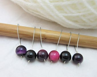 Purple Pink Banded Agate Stitch Markers, Obsidian, Progress Keepers, Knitting, Notions, Pack of 6, Yarn, Fits Most Needles, Knitting Project