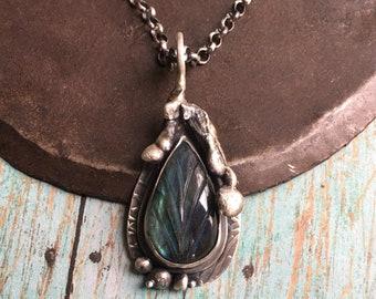 embrace.  lilac & carved labradorite twig necklace