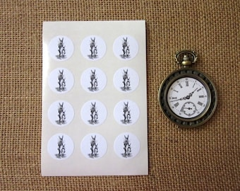 Easter Bunny Stickers One Inch Round Seals