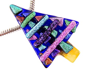"""Dichroic Glass Christmas Tree - Blue Pink Green Purple Orange Recycled Dichro Stripes Shards over Sapphire Stained Glass, Fused Glass 2"""""""