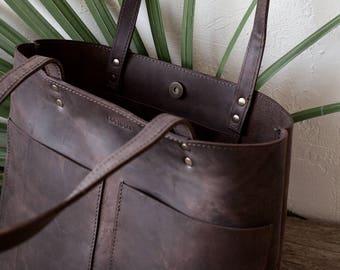 Medium Rustic Dark Brown Distressed Leather Tote bag No. LPB-70144