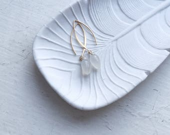 Gold bridal earrings, White jade earrings, Small drop earrings, Pretty earrings