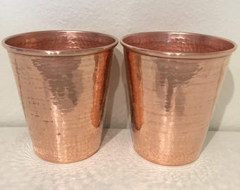 2-pack - 18oz Moscow Mule Hammered Copper Tumblers, tapered
