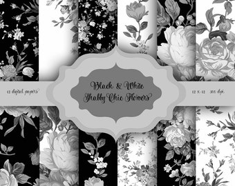 Black & White Shabby Chic Flowers Digital Paper Pack - Vintage floral pattern background for scrapbooking, wedding invitations, cards