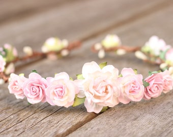 Pink Flower Crown, Blush Flower Crown, Floral Hair Piece, Floral Crown, Head Wreath, Wedding Hair Wreath, Maternity Hair Piece, Bridal Crown