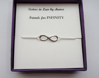 Sister in law gift, Silver infinity bracelet, Silver infinity bracelet, Infinity bracelet, Infinity jewelry, Bridesmaid gift,Gifts