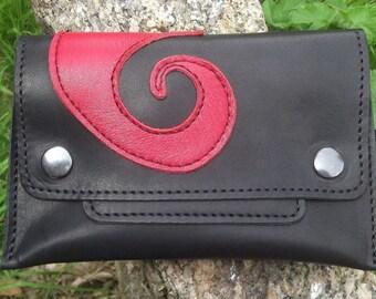 Blague à tabac en cuir noir  , spirale rouge