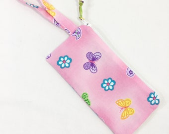 Pink/ Flowers/Butterflies Girls' Zippered Pouch~ Sunglasses Pouch ~ Free Shipping in US