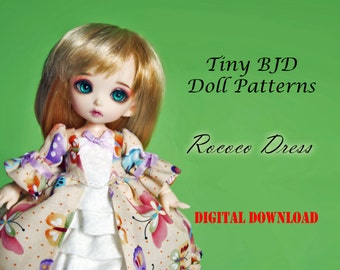 Rococo gown Doll clothes outfit pattern for Tiny BJD: PukiFee Lati Yellow Tiny Delf centaur & similar sized dolls