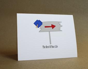 Graduation Card - new graduate, college, high school, diploma, congratulations, blank inside, greeting card