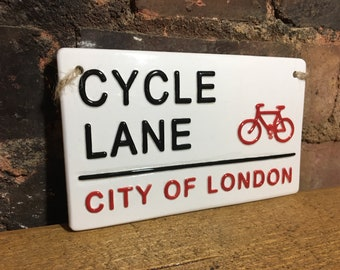 CYCLE LANE-London Street Sign-Wall Art-Bike-Bicycle-cyclist-Birthday Gift-Gift For Him-London Gifts-British Wall Art-Sports -Grandad-Dad